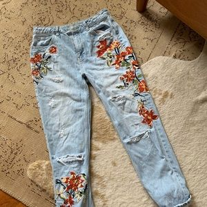 Embroidered Rip Jeans